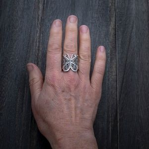 Full Finger Silver Wide Filigree Butterfly Ring